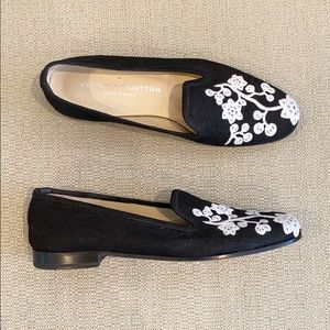 Stubbs & Wootton Floral Embroidered Loafers
